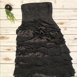 Zara black strapless dress women's size XS ruffle